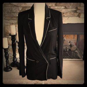 Zara Textured Black Blazer with White Trim